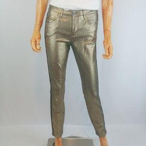 SAM EDELMAN | metallic gold coated skinny jeans